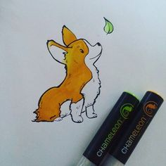 Adorable corgi drawing by @ceanego with their Chameleon Pens.   #chameleonpens #inkdrawing #corgi