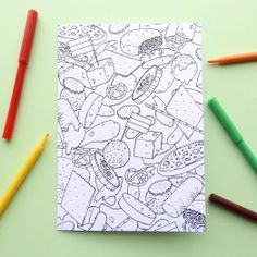 Colouring card 'Dutch snacks'. Fun to colour and to give! Made by Mietta Várszegi.   You can order by clicking on the picture.