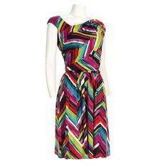 Asymmetric Chevron Stripe Dress