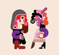 Two modern stylish persons by dan on Creative Market