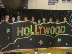 FOR THE HOLLYWOOD SIGN: we could find the glitter paper at walmart, for cheap, and use cardboard for support, and poke holes through it for and put lights through them, for more shine. Homecoming Decorations, Dance Decorations, Dance Themes, Prom Themes, Prom Decor, School Decorations, Hollywood Party, Vintage Hollywood, Hollywood Sign