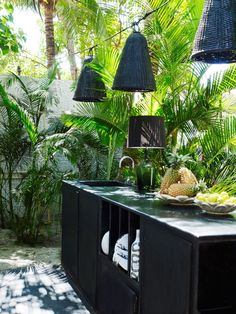 black and green outdoor kitchen and lighting ideas
