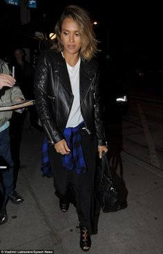 Jessica Alba wearing Anine Bing Quilted Leather Jacket and Rails Hunter Button Down Shirt in Black and Cobalt Check