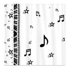 Piano themed shower curtains featuring a design for music lovers featuring a row of piano keys on the left side and music notes covering the right side. Great design for piano players.
