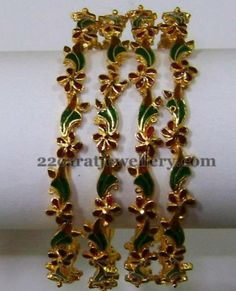 Jewellery Designs: Hand Painted Work Set of Bangles