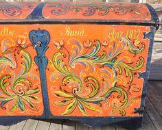 Norwegian Hallingdal Bridal Trunk Rosemaling Folk Art 1877 Scandinavian Norway | eBay