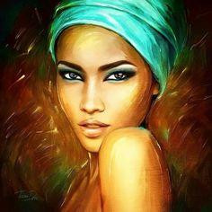 Portre Black Girl Art, Black Women Art, African American Artwork, Popular Paintings, African Art Paintings, Black Artwork, Painting People, Face Art, Portrait Art
