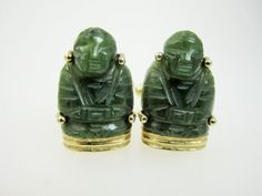 Vintage Anson Cuff Links in Jade and Gold Tone