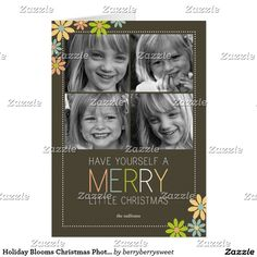 Shop Holiday Blooms Christmas Photo Card created by berryberrysweet. Modern Christmas Cards, Christmas Photo Cards, Christmas Greeting Cards, Christmas Photos, Holiday Cards, Holiday Essentials, Bloom, Custom Photo, Celebrations