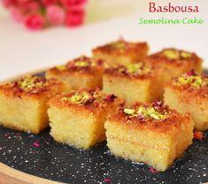 Basbousa | Semolina Cake - Eggless recipe - The Karavali Wok Eggless Recipes, Cake Recipes, Ramadan Desserts, Middle Eastern Desserts, Semolina Cake, Arabic Sweets, Cake Servings, Sweet Cakes, Recipe Today