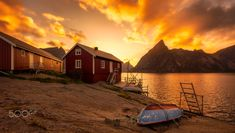 Golden Hour in Lofoten - Sunset in beautiful Lofoten in Norway, these cabin are located outside the town of Reine. Lofoten, Golden Hour, Cabins, Norway, The Outsiders, Celestial, Sunset, Outdoor, Beautiful