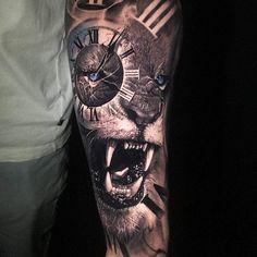 Tattoo photo - Wild lion tattoo by Chris Showstoppr Lion Tattoo Sleeves, Mens Lion Tattoo, Sleeve Tattoos, Lion Arm Tattoo, Watch Tattoos, Time Tattoos, Tattoos For Guys, Calf Tattoos For Men, Forearm Tattoos