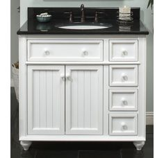 Sagehill Designs CR3621D White Bayside Cottage Retreat 36 Inch Bathroom Vanity Cabinet