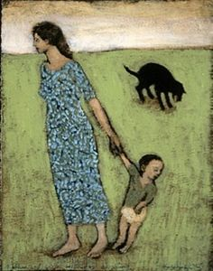 Mother and Child with Dog Vomiting - Brian Kershisnik Brian Kershisnik, Paintings I Love, Acrylic Paintings, Oil Paintings, Art Thou, Painting People, Cecile, Mother And Child, American Artists