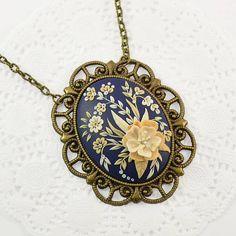 Floral Necklace / Pendant or Brooch Applique Romantic Floral
