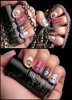 . Skull Nail Art, Skull Nails, Glitter Nail Art, Nail Water Decals, Nail Stickers, Cute Nails, Pretty Nails, Celebrity Wigs, Heart Nail Art