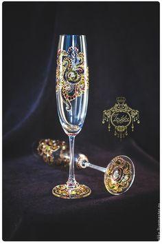 """Бокалы, стаканы ручной работы. Ярмарка Мастеров - ручная работа. Купить Бокалы для шампанского """"Мардигра"""". Handmade. Бокалы для свадьбы, бокалы"""