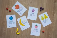 DIY Valentines.  Lovable fruit Valentines cards for your kids or your friends! These cute hand drawn cards are ready to print!