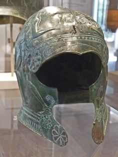 Ornate Bronze helmet from south central Crete 7th century BCE  Photographed at the Metropolitan Museum of Art in New York City, New York.