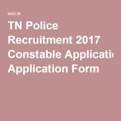 TN Police Recruitment 2017 Constable Application Form
