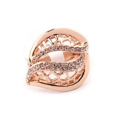 Delicate Romantic Gold Plated Rose Ring Size 8 Band Ring