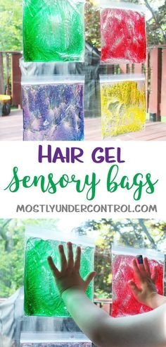 Sensory play with hair gel - an easy sensory activity for kids of all ages. This is a great activity to keep up for a while and keep toddler and baby hands busy while you're trying to get everyday tasks done. activities Sensory Play with Hair Gel Baby Sensory Play, Sensory Activities Toddlers, Infant Activities, Indoor Activities, Baby Sensory Bags, Childcare Activities, Summer Activities, Family Activities, Sensory Play For Toddlers