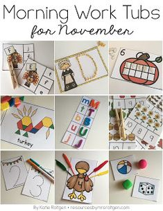 November Morning Work Tubs | Your Kindergarten students can use turkey clip it cards, letter tracing, ten frames, pattern blocks, magnet match, count & clip cards, number tracing, counting, 3D shapes, regular shapes, number order, color sorting, line tracing, spy & write, picture tracing, color by picture, pattern cards, CVC words, and community helpers. Many activities have a Thanksgiving theme kids will love. Grab them today!