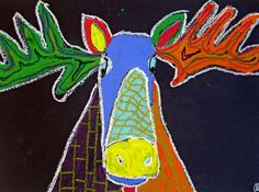 We don't moose around - this herd was created at a small hands big art summer camp! Use white china marker, tempera paint, and black oil pastel. Animal Art Projects, Easy Art Projects, School Art Projects, School Ideas, Kids Art Class, Art Lessons For Kids, Art For Kids, Kid Art, Library Art
