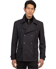 Kenneth Cole New York Coat, Wool Bib Peacoat - Mens Coats & Jackets - Macy's