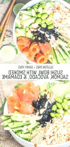 Sushi Bowl with Smoked Salmon, Avocado and Edamame, #avocado #Bowl #Edamame #Salmon #smoked #Sushi Salmon Avocado, Smoked Salmon, Edamame, Fish Salad, Cobb Salad, Sushi Bowl, Cantaloupe, Dairy Free, Rolls