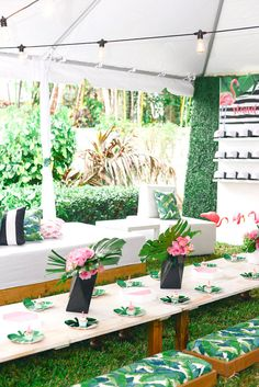 Guest tablescape from a Modern Flamingo Birthday Party on Kara's Party Ideas | KarasPartyIdeas.com (36)