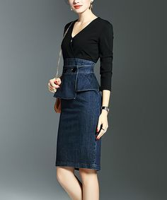 Show off your figure in this curve-hugging dress featuring a denim skirt for a dose of casual-cool style. Size note: This item is from a European brand. Please refer to the size chart to ensure best fit. Handbag not includedSize S: 40.9'' long from high point of shoulder to hem80% cotton / 20% spandexHand wash; hang dryImported Shipping note: This item is shipping internationally. Allow extra time for its journey to you.