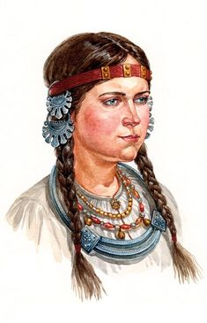 Russian girl from a small town near Moscow in a head band with temple pendants (kolty) and neck decorations. Late 12 – early 13 century. Reconstruction of the wearing style according to the archaeological data. #medieval #Russian #history