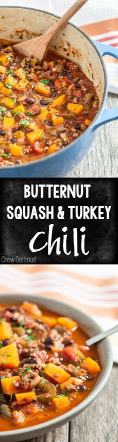 Hearty, healthy, and mouthwatering Butternut Squash & Turkey Chili. So flavorful and comforting. #chili