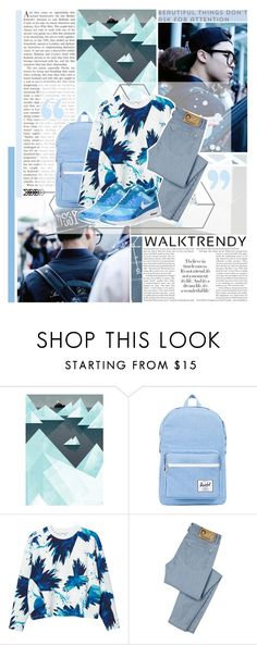 """A normal guy like me doesn't fit your standards so I wore a ""friend"" mask Hiding my true feelings when I'm next to you - Beautiful, BTS"" by fadingcentury ❤ liked on Polyvore featuring Herschel Supply Co., Monki, D&G and NIKE"