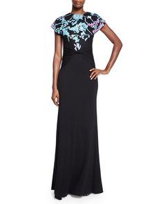 Diane von Furstenberg Short-Sleeve Wool Floral-Intarsia Statement Gown, Black, Women's, Size: 8
