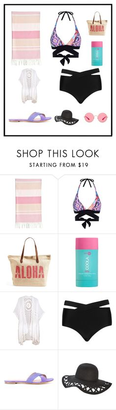 """""""Fun in the Sun"""" by our-love-is-radness ❤ liked on Polyvore featuring Linum Home Textiles, Seafolly, Rip Curl, COOLA Suncare, Cactus, ALEXA WAGNER, Ray-Ban, Summer, beach and swimsuit"""