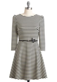 $70 ~ Lining Up to See Dress - Black, Stripes, Backless, A-line, Long Sleeve, White, Short, Belted, Casual