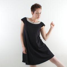 Black Maternity dress, Trapeze mini dress | MayaEplerFashion #newyearseve #maternity #dress
