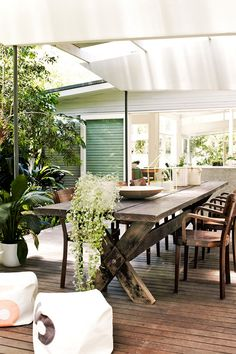 The outdoor entertaining space in this casual eclectic home in Sydney, photographed by Prue Ruscoe for Homelife, is all kinds of enchanting. Outdoor Rooms, Outdoor Dining, Outdoor Pavilion, Dining Table, Rustic Outdoor, Patio Dining, Dining Area, Strand Design, Deco Cool