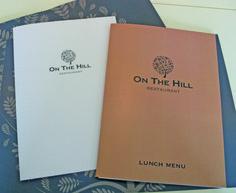 Menu covers for 'On the Hill', Ruthin Menu Covers, White Fox, Lunch Menu, Fox Design, Corporate Identity, Editorial, Luncheon Menu, Brand Identity