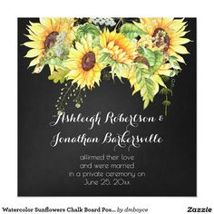 Watercolor Sunflowers Chalk Board Post Wedding Card