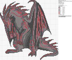 Free Black and Red Dragon Cross Stitch Pattern by carand88 on deviantART. #dragons #free #cross_stitch #patterns