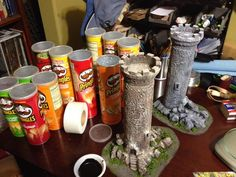 Towers made out of Pringles cans. Brilliant idea from Table Ready Terrain on Facebook