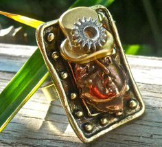 Adjustable steampunk ring    woman or man with by pinkflamingo61, $22.50