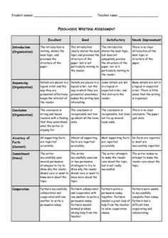 Persuasive Writing - Assessment Rubric by Lia Thomas Writing A Persuasive Essay, Writing Assessment, Paragraph Writing, Opinion Writing, Teaching Writing, Writing Rubrics, Persuasive Texts, Argumentative Essay, Writing Resources