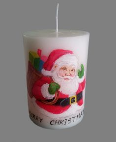 Hand painted pillar candle for Christmas.