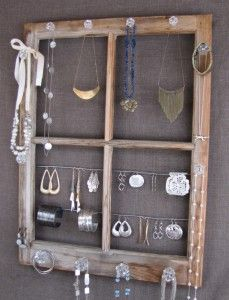 Jewelry organizer - Creative Ways To Repurpose Old Windows
