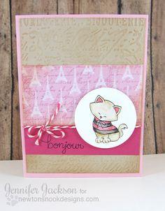 Bonjour Paris Kitty Valentine Card by Jennifer Jackson   Newton Dreams of Paris Stamp set by Newton's Nook Designs