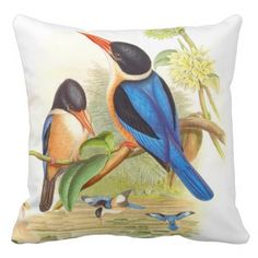 Gould Kingfishers Throw Pillow